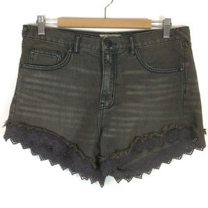 Free People Army Green Lace Denim HighRise Shorts